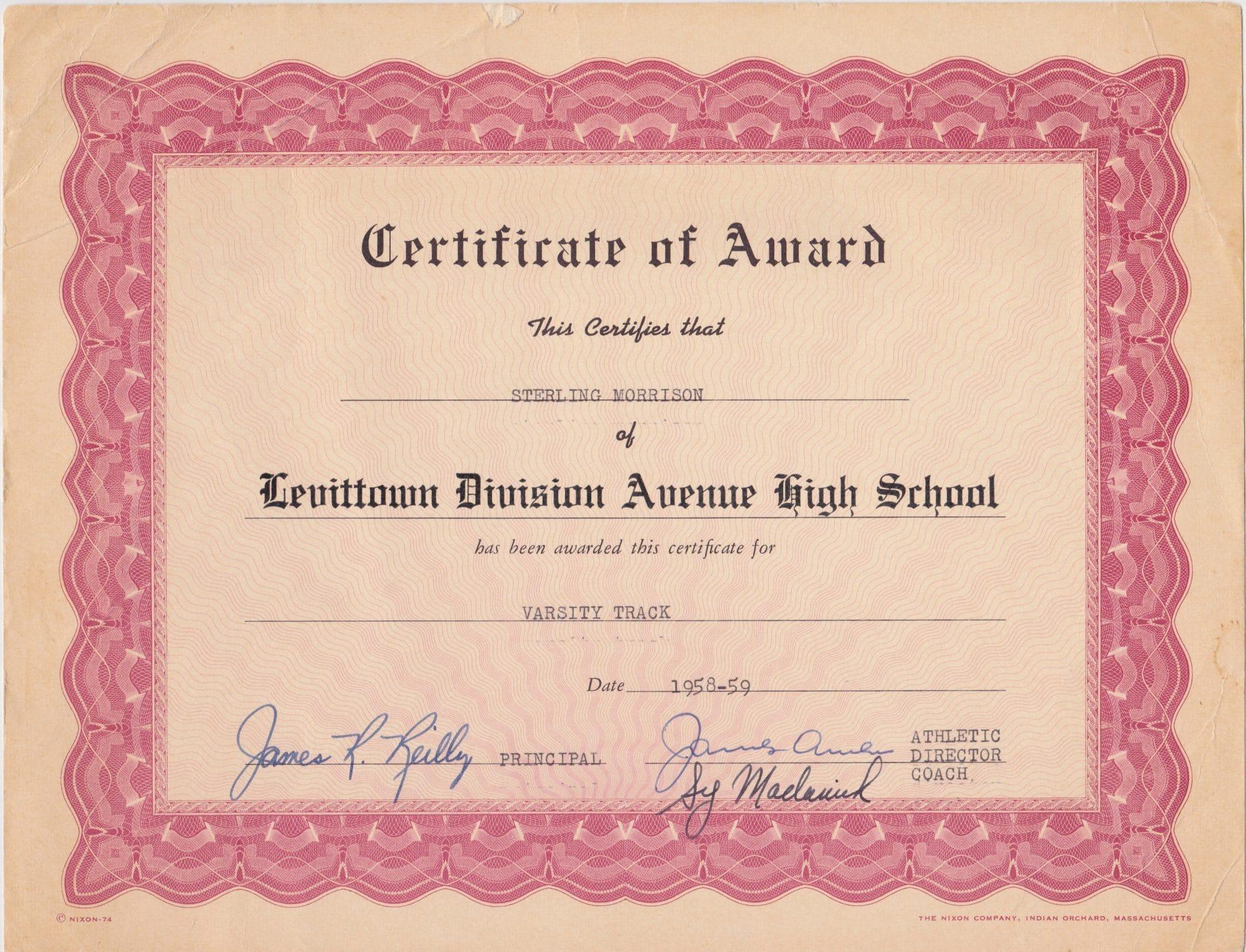 school award certificate  Velvet Underground – Sterling Morrison High School Award Certificate