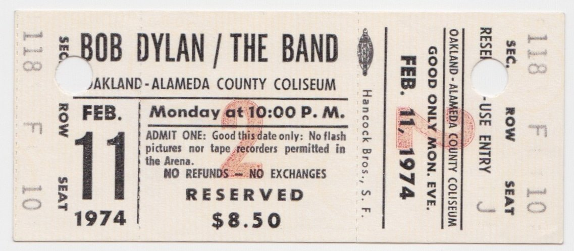 bob dylan amp the band � unused 1974 oakland concert ticket