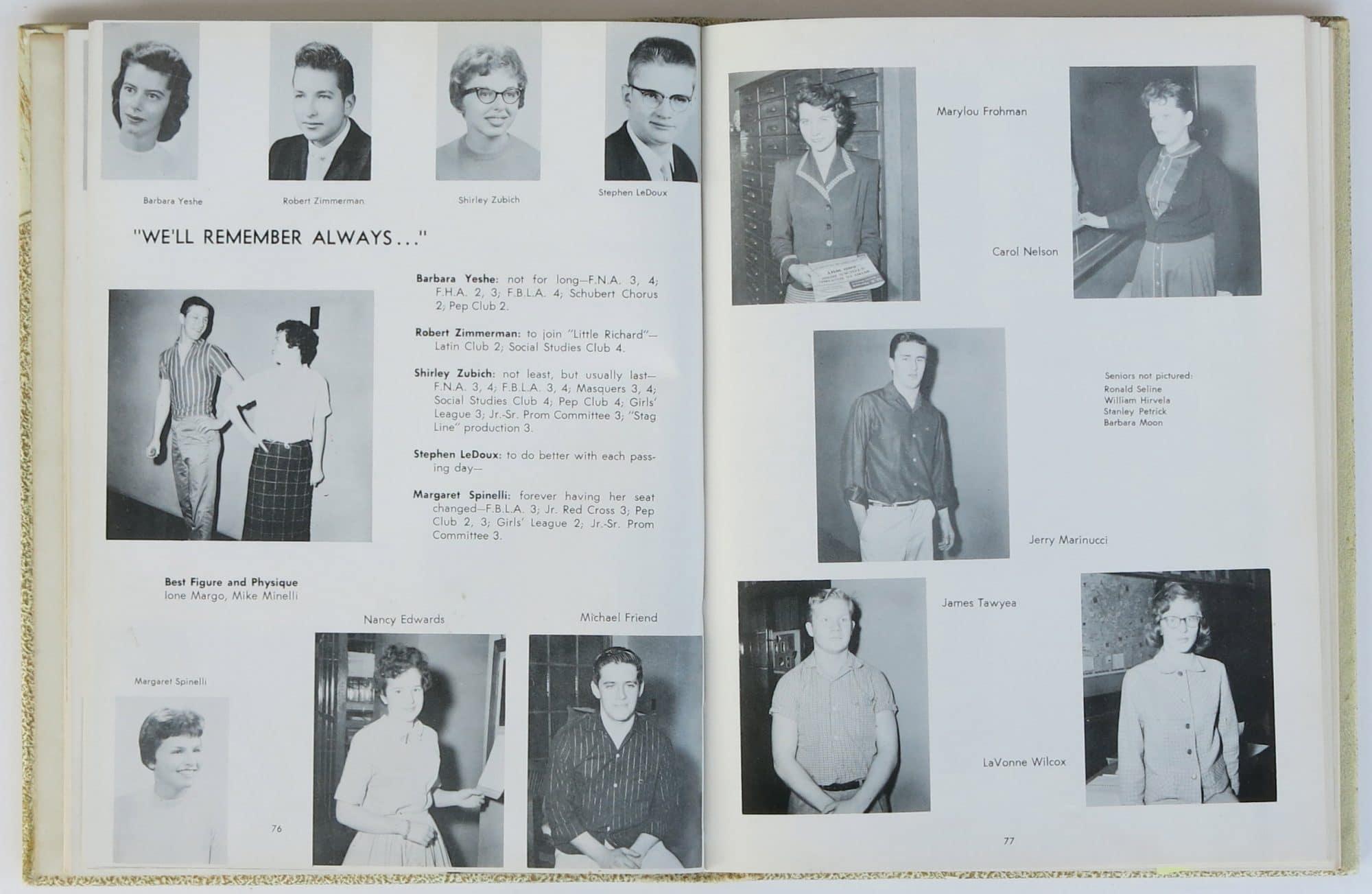 Clubs In Little Rock >> Bob Dylan – 1959 Hibbing High School Yearbook