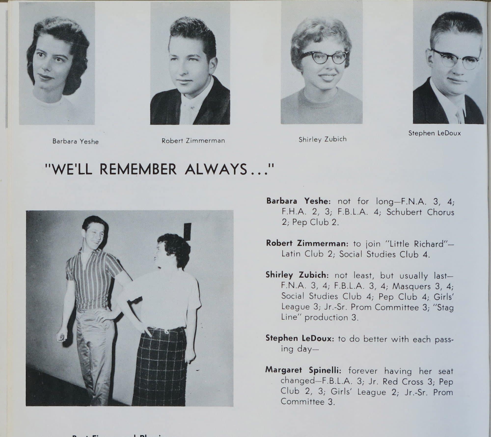 Bob Dylan – 1959 Hibbing High School Yearbook