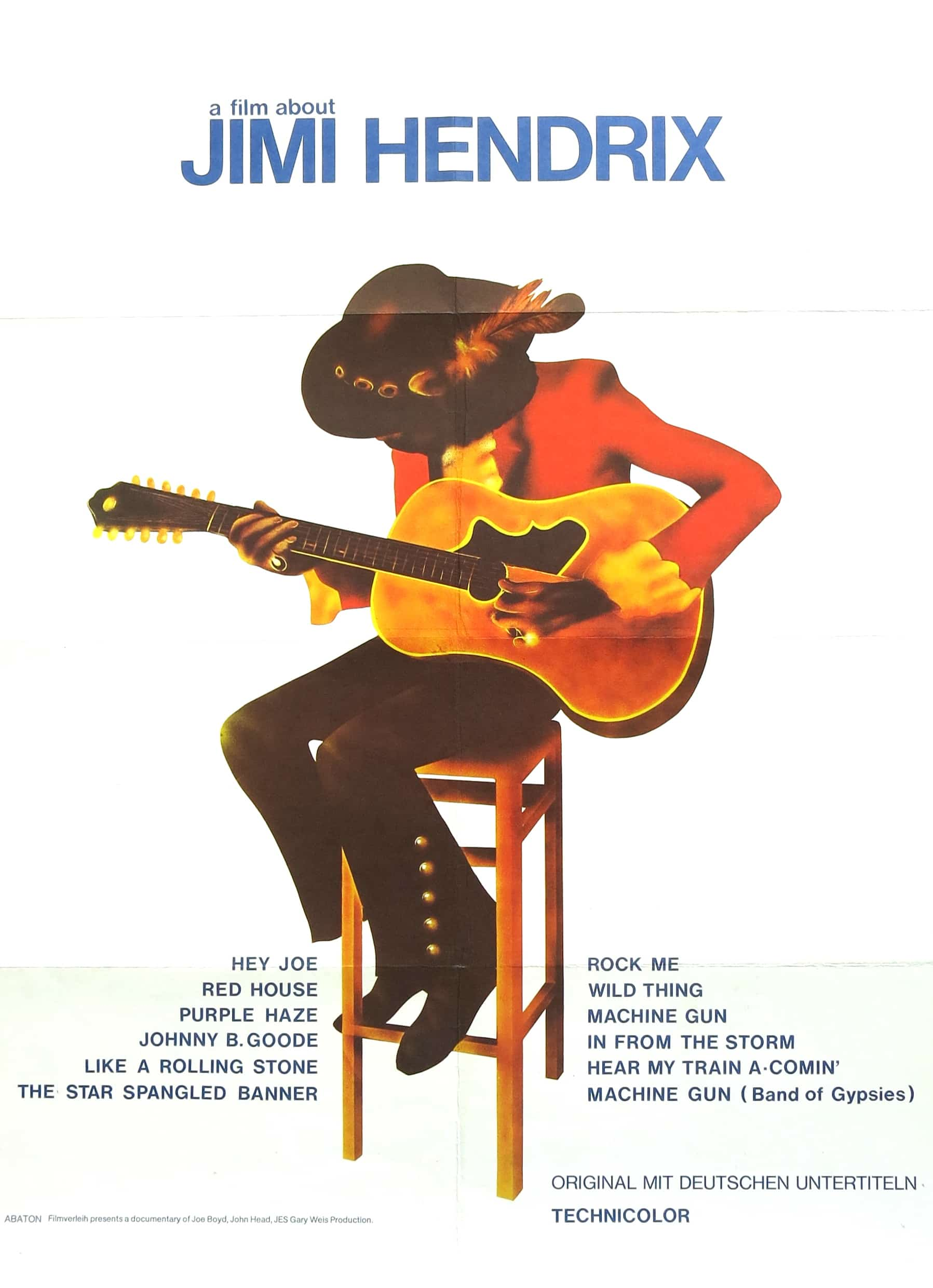 jimi hendrix 1973 poster for a film about jimi hendrix. Black Bedroom Furniture Sets. Home Design Ideas