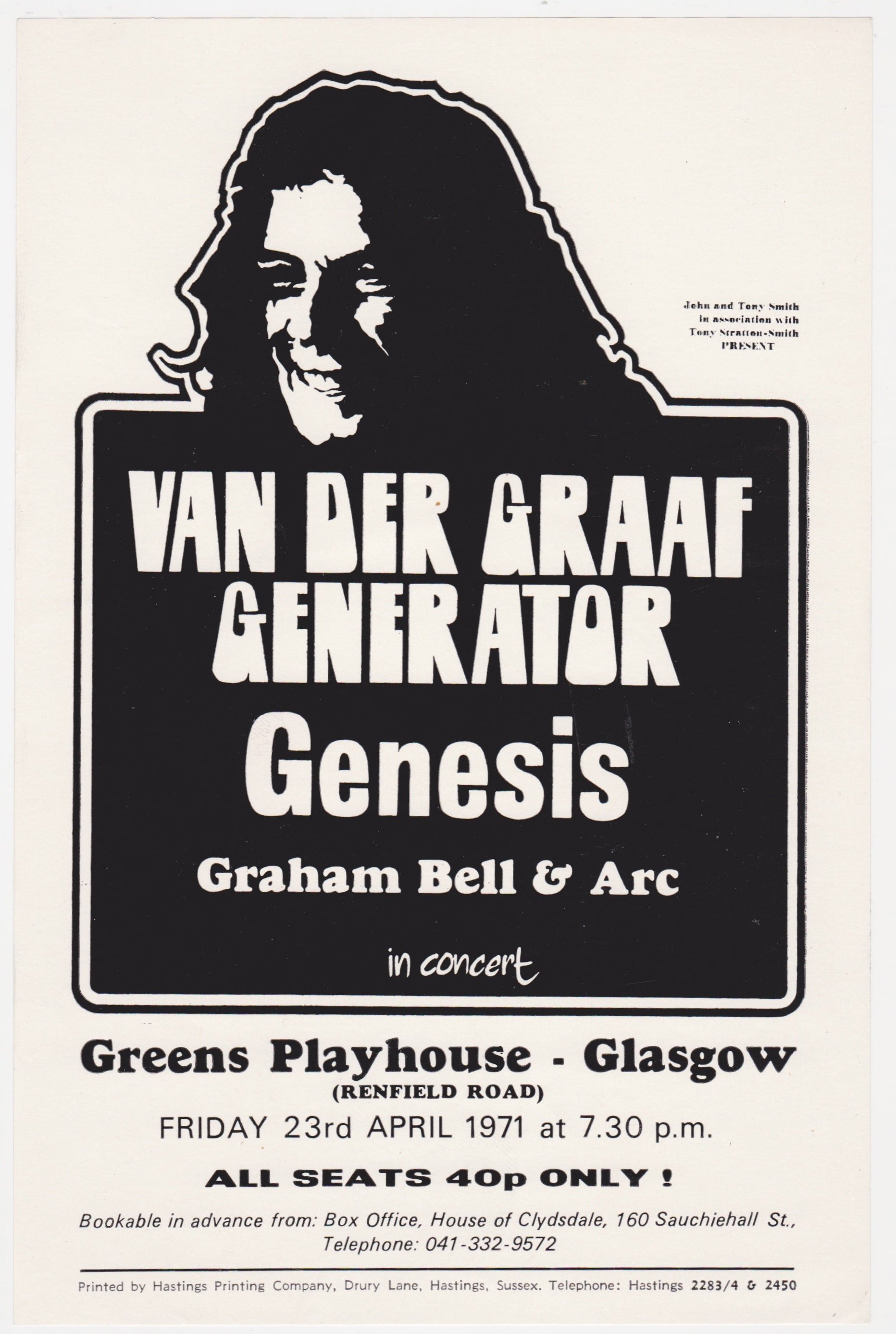Genesis & Van Der Graaf Generator – Charisma Package Tour 1971Handbill