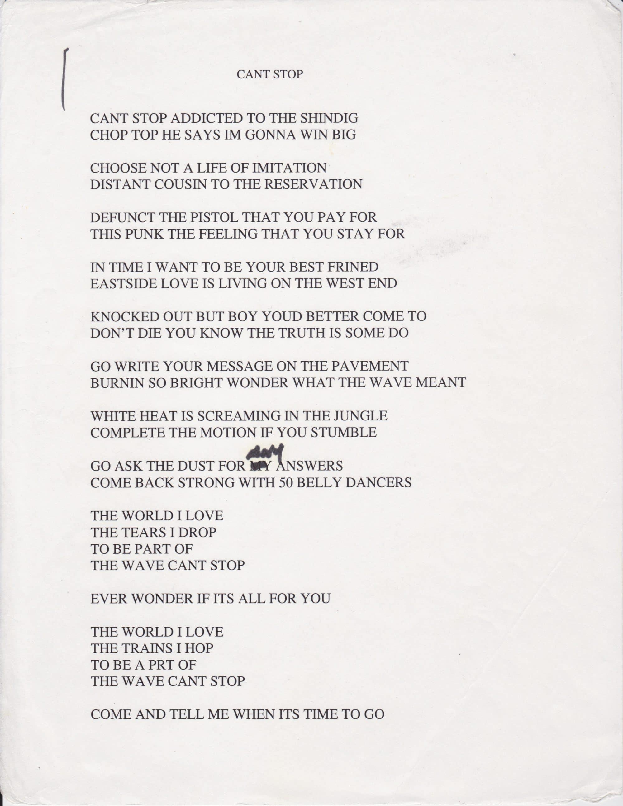Can stop the rock lyrics