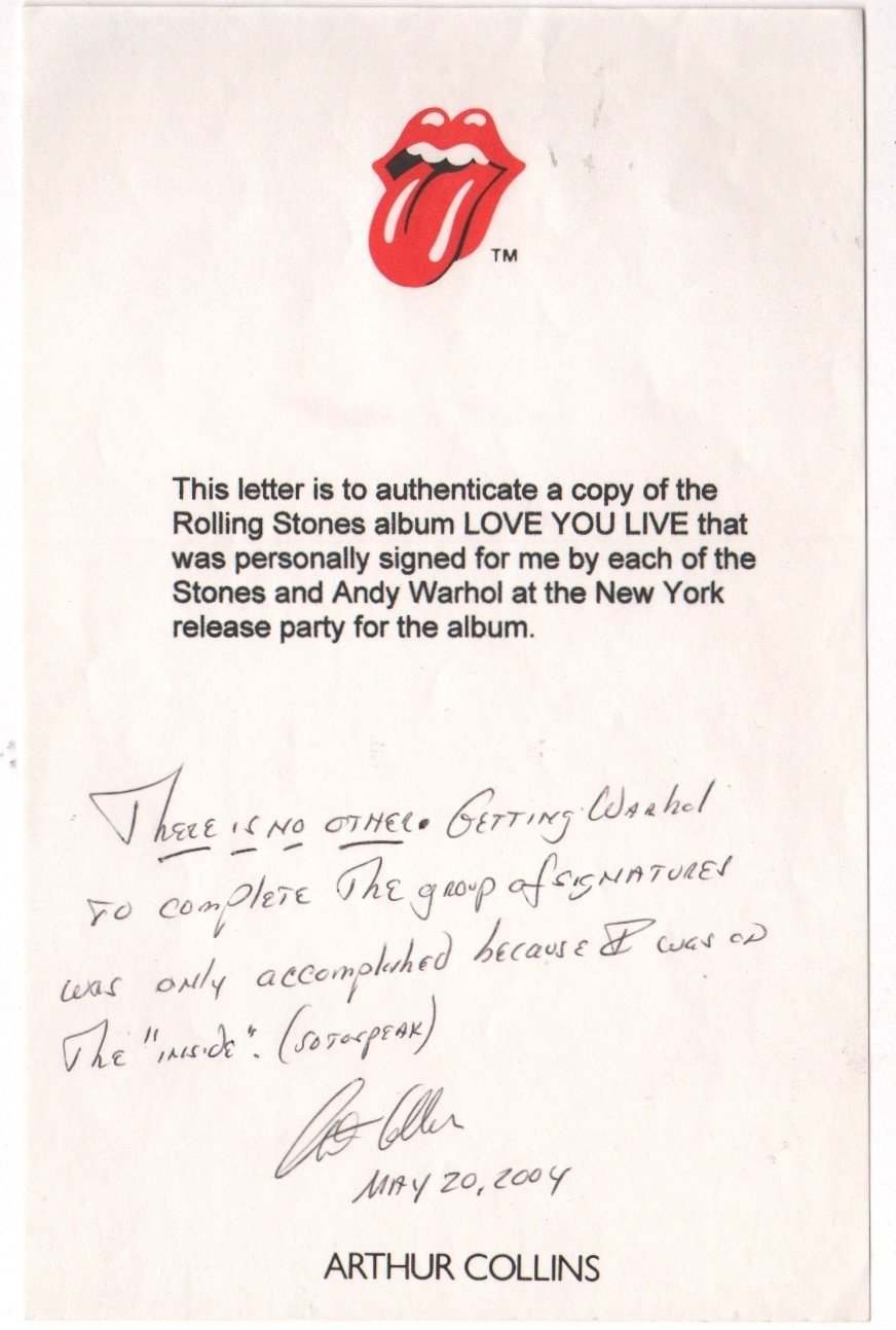 rolling stones  u2013  u201clove you live u201d lp signed by stones and