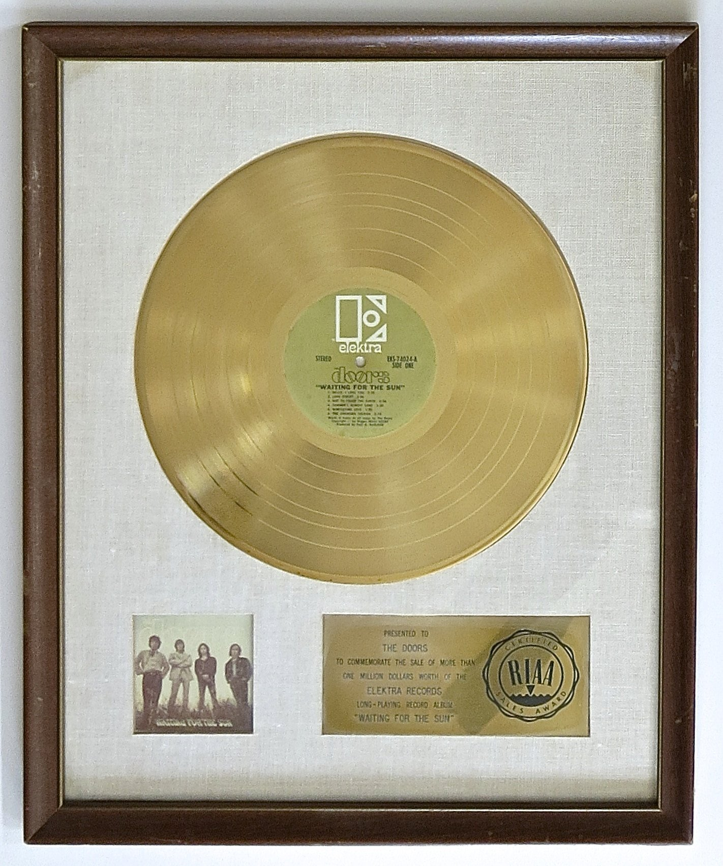 The Doors u2013 White Matte Gold Record Award Presented to The Doors for u201cWaiting For The Sunu201d & The Doors u2013 White Matte Gold Record Award Presented to The Doors for ...