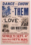 Them (Van Morrison) & Love – 1966 Bay Area Boxing-Style Concert Poster