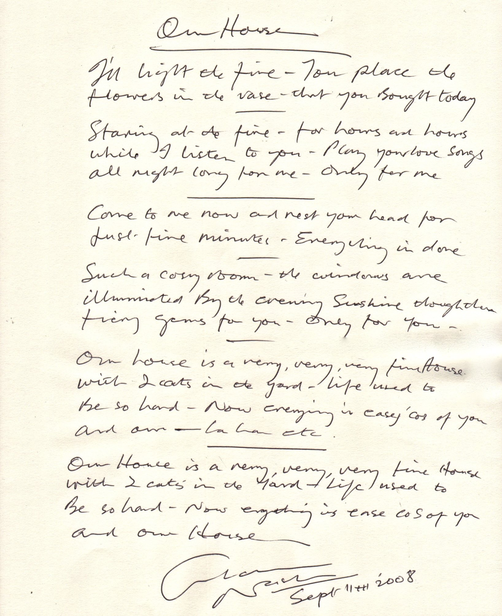 Graham Nash Original Handwritten Lyric Sheet to Our House