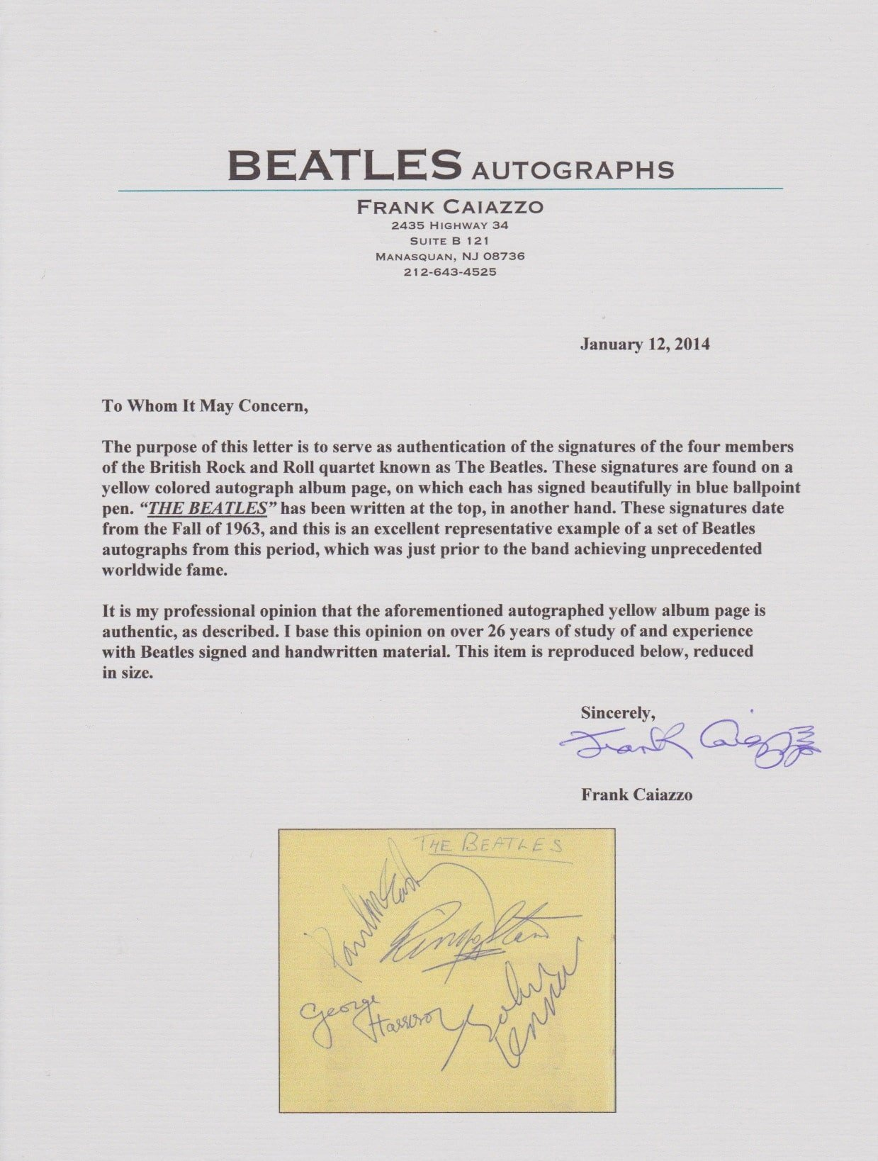 the beatles  u2013 1963 signed autograph book with frank