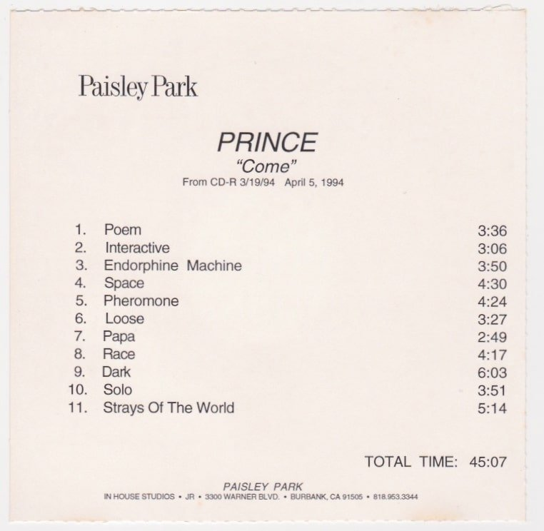 Prince Unreleased Come Cd R Acetate With Alternate Tracks
