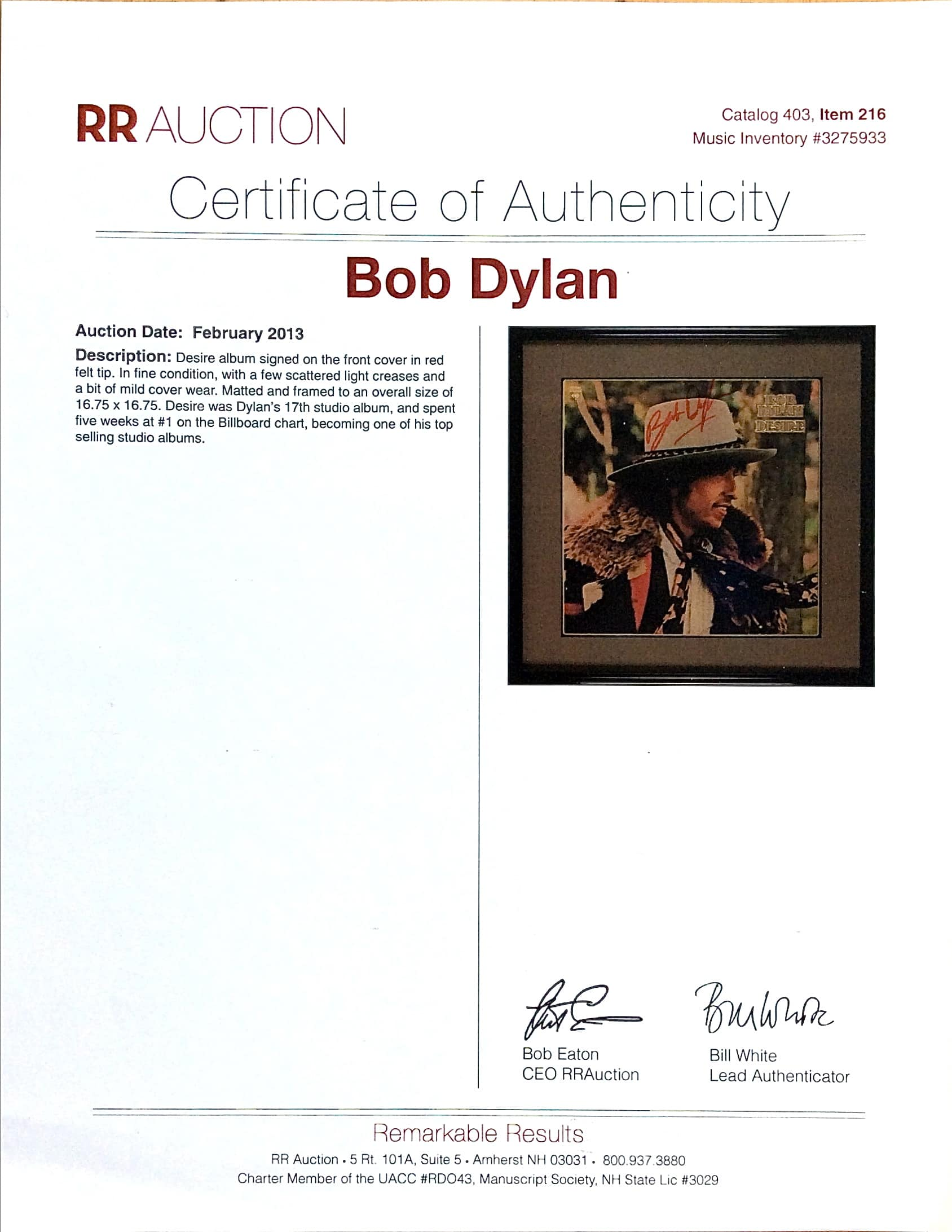 "Bob Dylan – Autographed ""Desire"" Album Cover Flat with"