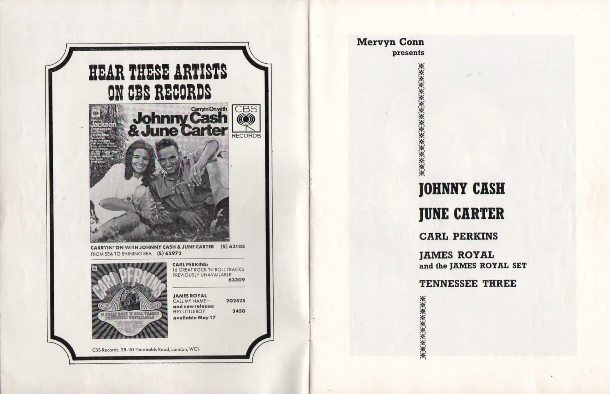 johnny cash 1968 uk tour program signed by cash june carter carl perkins. Black Bedroom Furniture Sets. Home Design Ideas