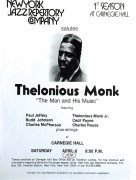 Thelonious Monk – Rare Concert Poster For One Of His Last Appearances