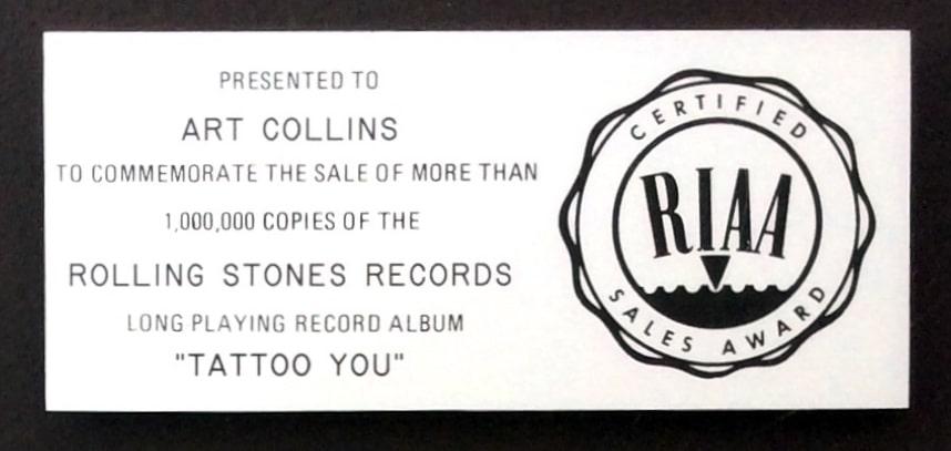 Rolling Stones Tattoo You Riaa Platinum Record Award