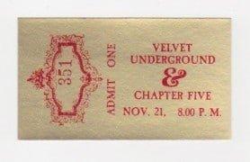 Velvet Underground – 1969 Portland Concert Ticket (Lou Reed)