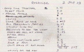 Velvet Underground – Sterling Morrison Handwritten Set List / 1993 Roskilde Festival
