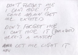 "Red Hot Chili Peppers – Anthony Kiedis Handwritten Lyrics ""Don't Forget Me"""
