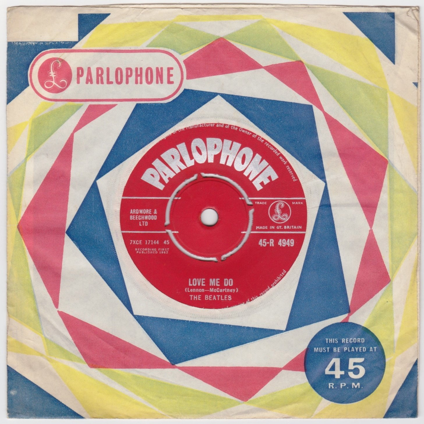 """The Beatles – """"Red Parlophone"""" 1st Pressing Debut Single """"Love Me Do/Please  Please Me"""""""