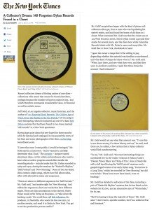 Dylan acetates NY Times Article