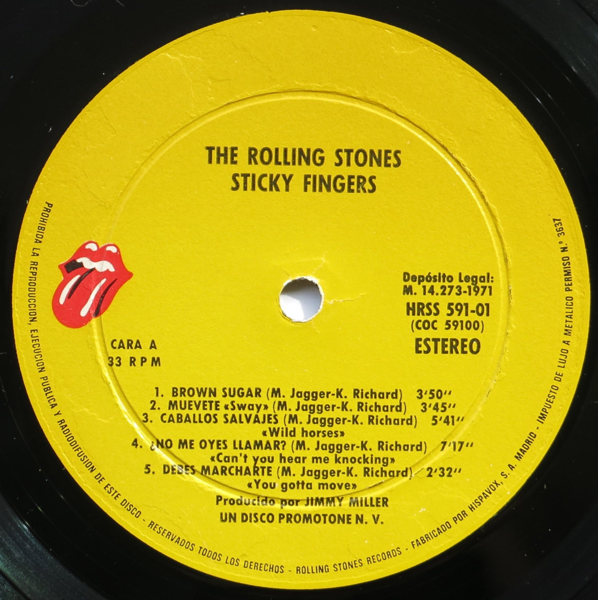 Rolling Stones Spanish 1st Pressing Sticky Fingers Lp
