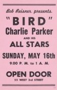 Charlie Parker – 1954 Boxing-Style Concert Handbill from the Open Door, NYC