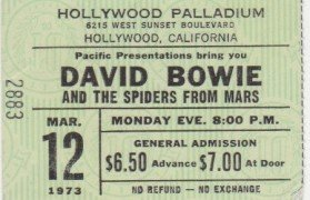 "David Bowie – Rare, Large 1973 ""Ziggy"" Hollywood Palladium Ticket Stub"