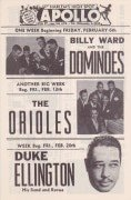 Apollo Theatre 1953 Handbill – Duke Ellington, The Orioles, Billy Ward & the Dominos, Ruth Brown, Five Royales, Willie Mabon