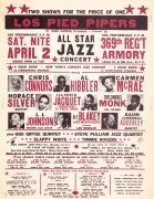 Thelonious Monk, Horace Silver, Lee Morgan, Cannonball Adderley, Etc. – 1960 Jazz Boxing Style Handbill