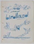 "Charlie Parker, Thelonious Monk, Bud Powell – Original ""Birdland"" NYC Jazz Club Menu"