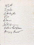 Bruce Springsteen – Handwritten Set List From 1986 Bridge School Concert