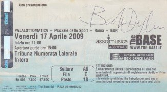 Bob Dylan – Signed 2009 Rome Concert Ticket
