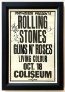 Rolling Stones / Guns N' Roses – LA Coliseum Boxing-Style Concert Poster, Signed by Slash and Duff
