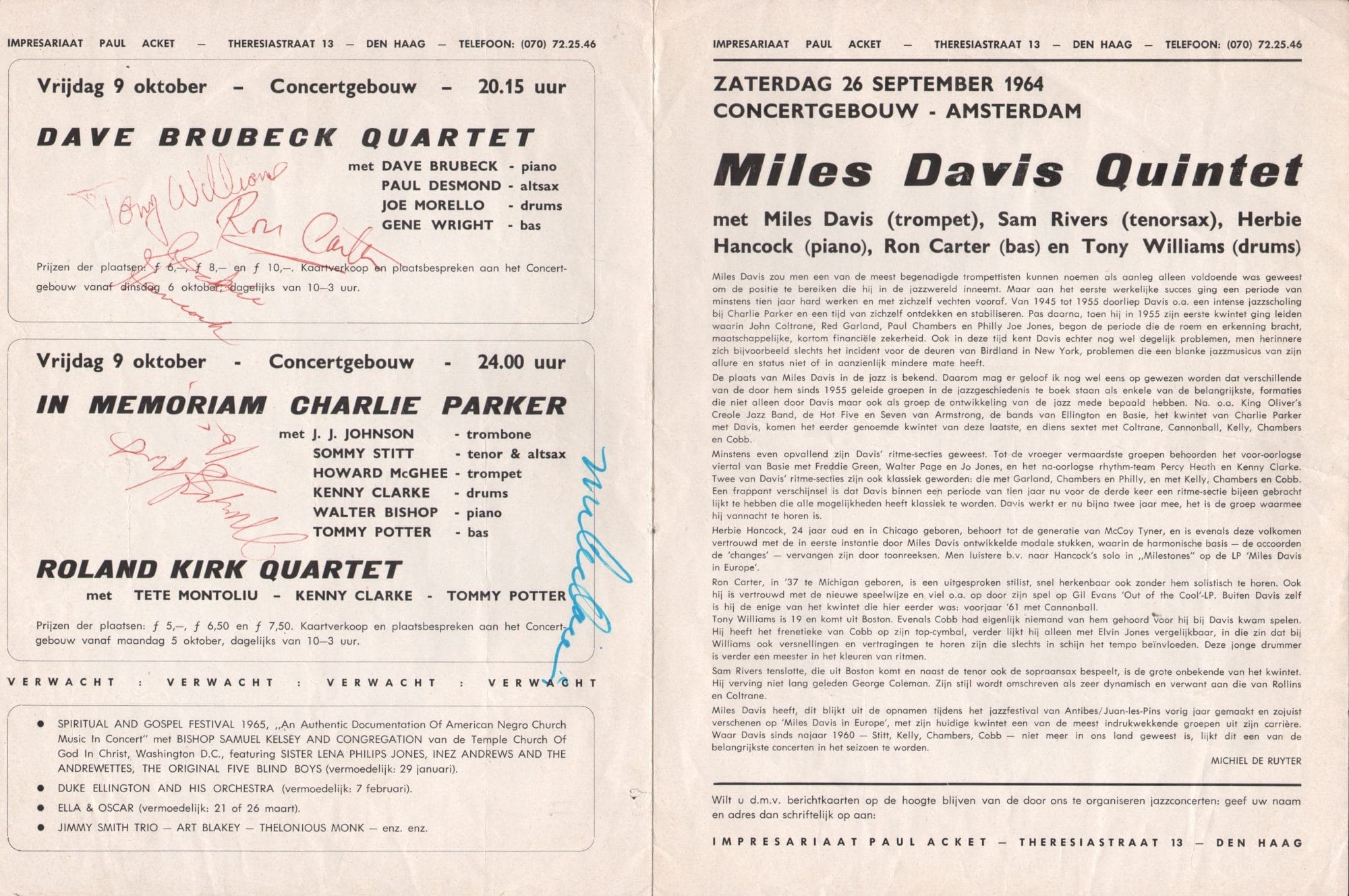 Miles Davis Quintet Signed 1964 Concert Program with Herbie – Concert Program