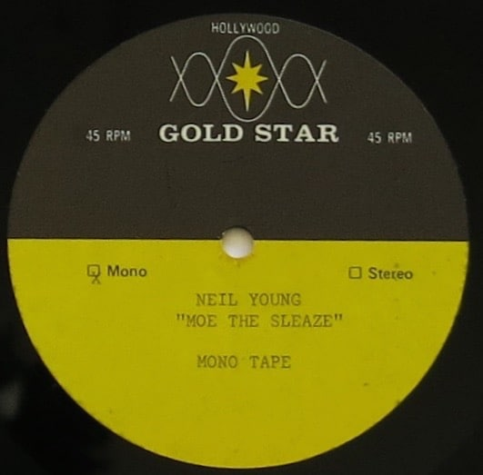"""Neil Young – Personally Owned 10″ Acetate """"Moe The Sleeze"""