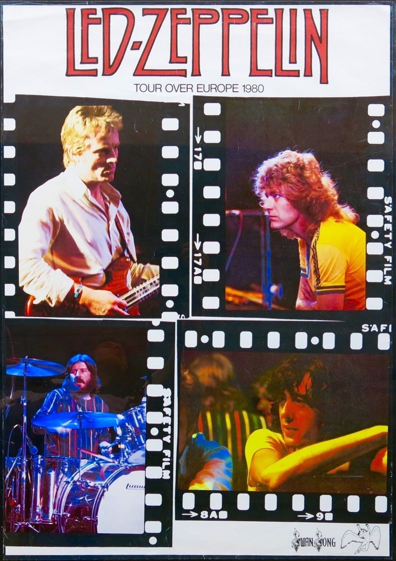 led zeppelin 1980 european tour concert poster. Black Bedroom Furniture Sets. Home Design Ideas