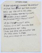 "Neil Young – Handwritten Lyric Manuscript – ""Opera Star"" From Re-Ac-Tor Album, With 2 COA's"