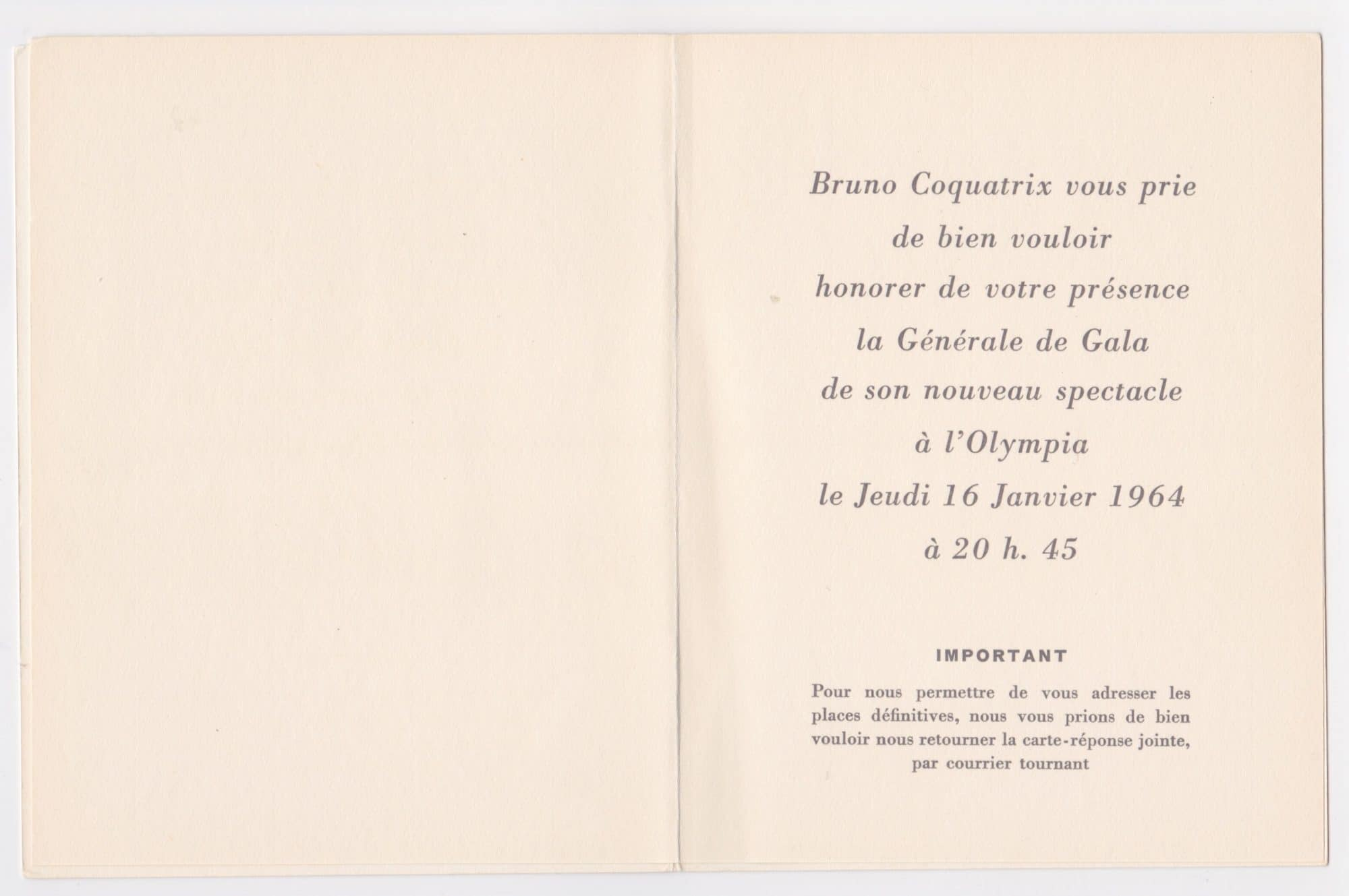 The Beatles Extremely Rare Invitation To January 1964 Paris