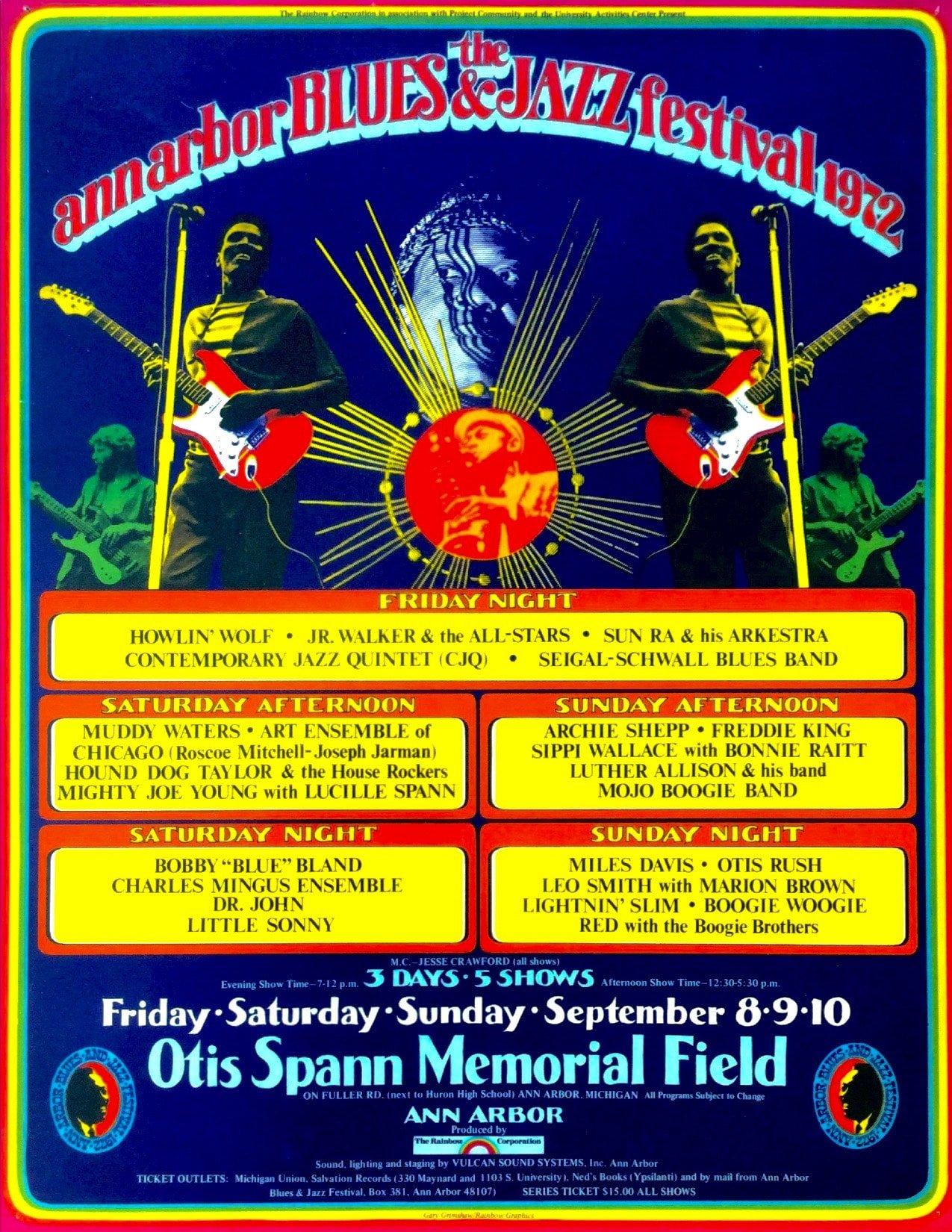 1972 Ann Arbor Blues Festival Poster Howlin Wolf Sun Ra Muddy Waters Miles Davis
