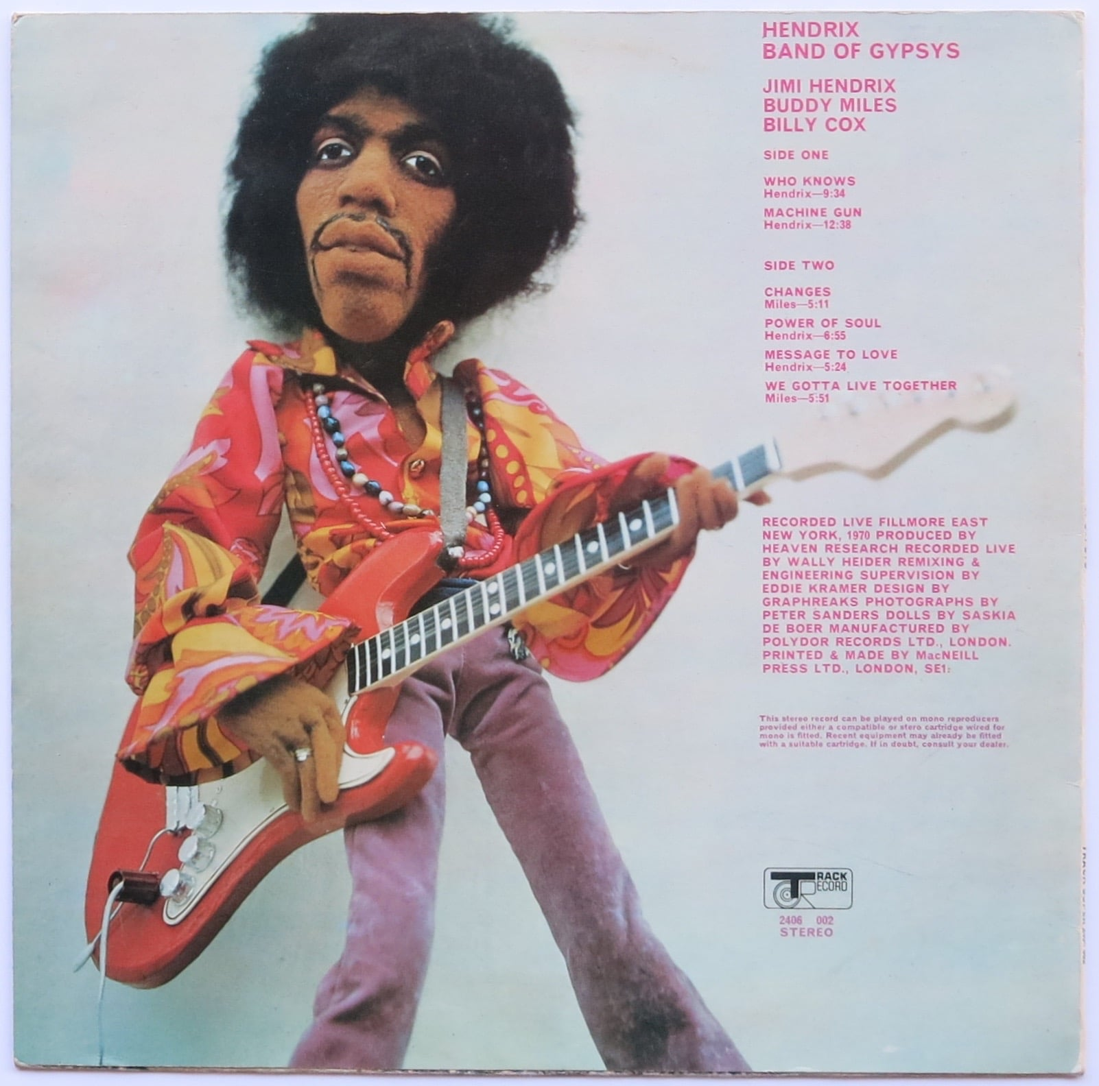 jimi hendrix uk 1st press band of gypsys with withdrawn puppet cover. Black Bedroom Furniture Sets. Home Design Ideas