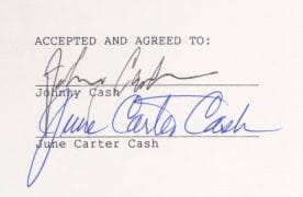 Johnny Cash & June Carter – Signed Music Publishing Contract