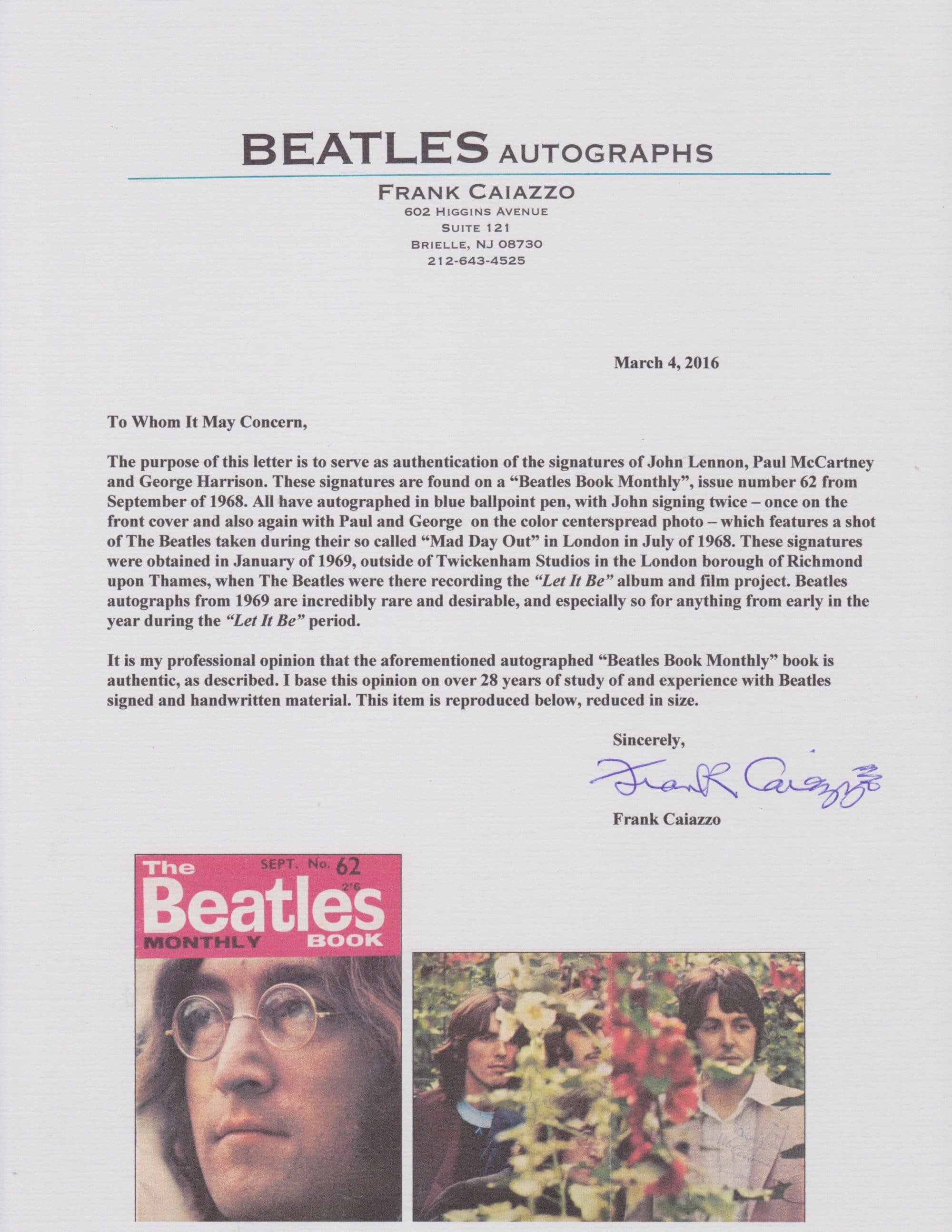 the beatles  u2013 very rare autographs signed during 1969  u201clet