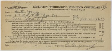Lester Young – Twice Signed 1940's Tax Withholding Form
