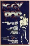 Iggy Pop – 1980 First Printing Bookie's Detroit Gary Grimshaw Concert Poster