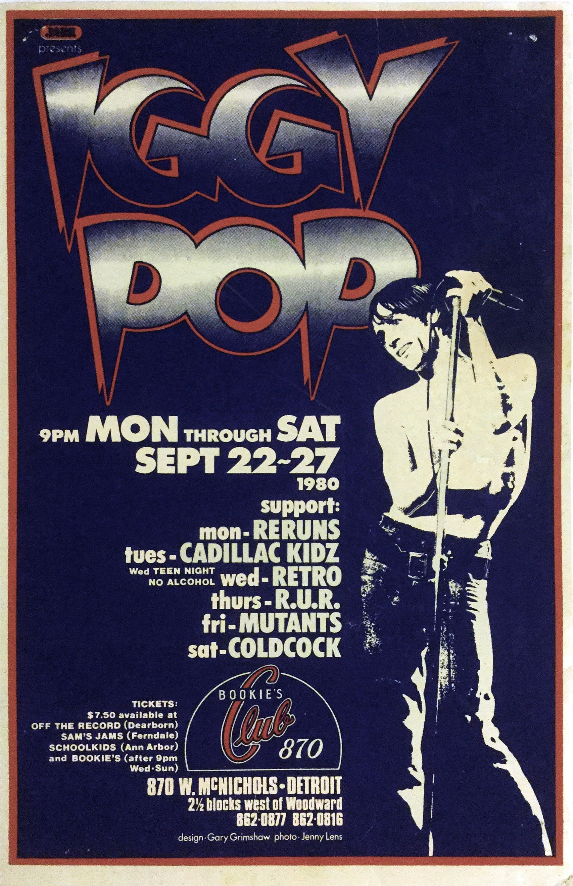 Poster design and printing - Iggy Pop 1980 First Printing Bookie S Detroit Gary Grimshaw Concert Poster