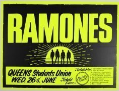 Ramones – Huge Day-Glo Belfast 1985 Concert Poster, From Road Manager's Collection