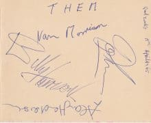 Van Morrison & Them – 1965 Band-Signed Autograph Book Page (with Lifetime Guarantee)