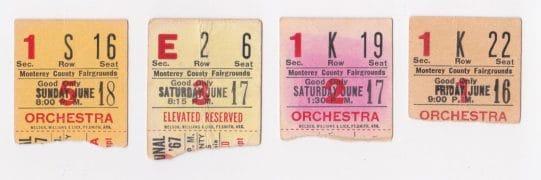 Monterey Pop Festival – 4 Rare Ticket Stubs (Jimi Hendrix, Janis Joplin, The Who, Grateful Dead, etc)
