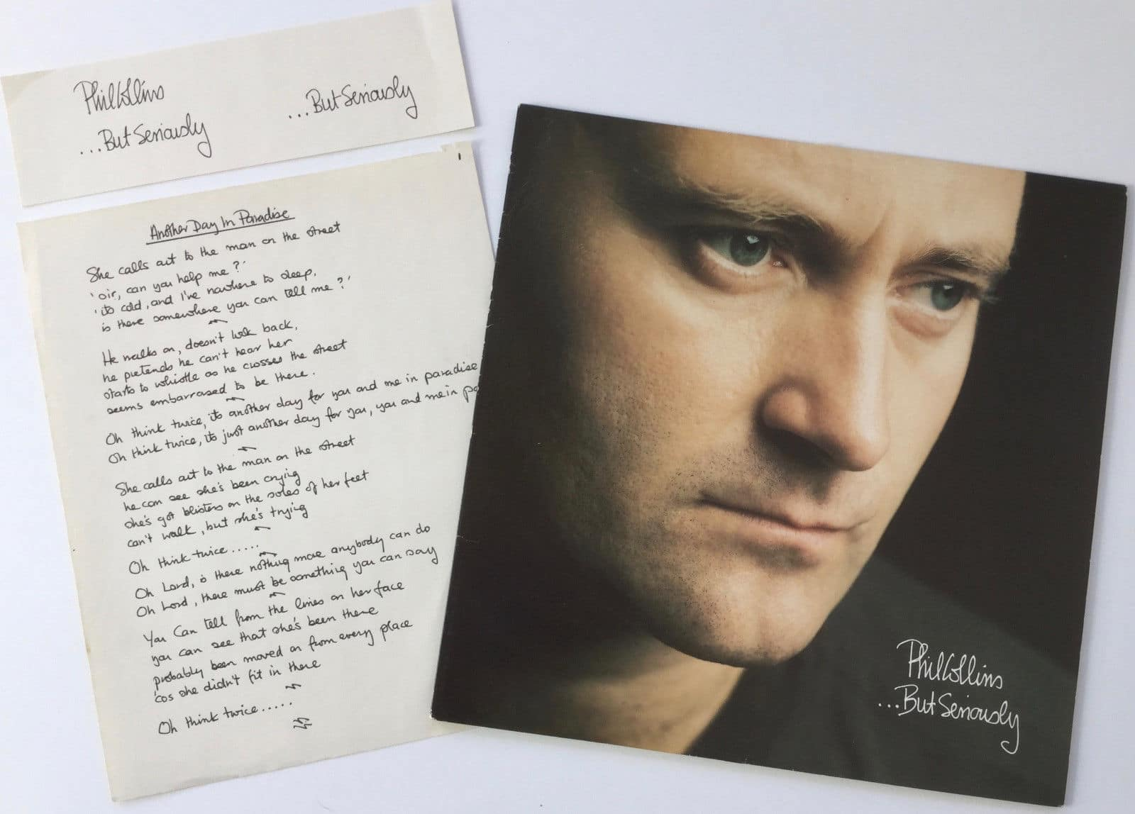 Phil Collins Handwritten Lyrics For Another Day In Paradise