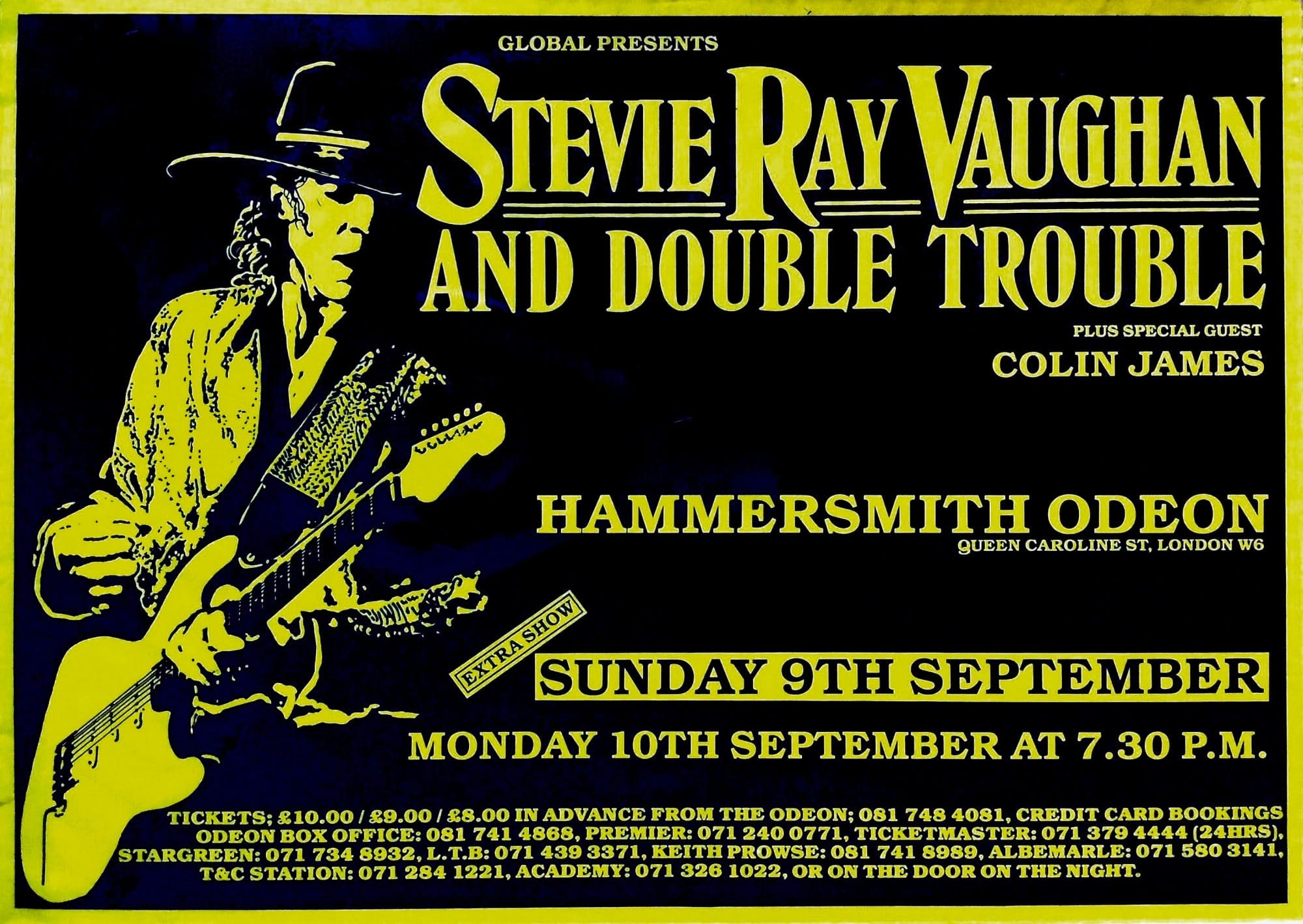 stevie ray vaughan and double trouble huge 1990 uk concert poster. Black Bedroom Furniture Sets. Home Design Ideas