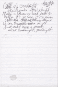 "Prince – Handwritten Lyrics For ""Mr. Goodnight"" With Roger Epperson COA, Lifetime Guarantee"