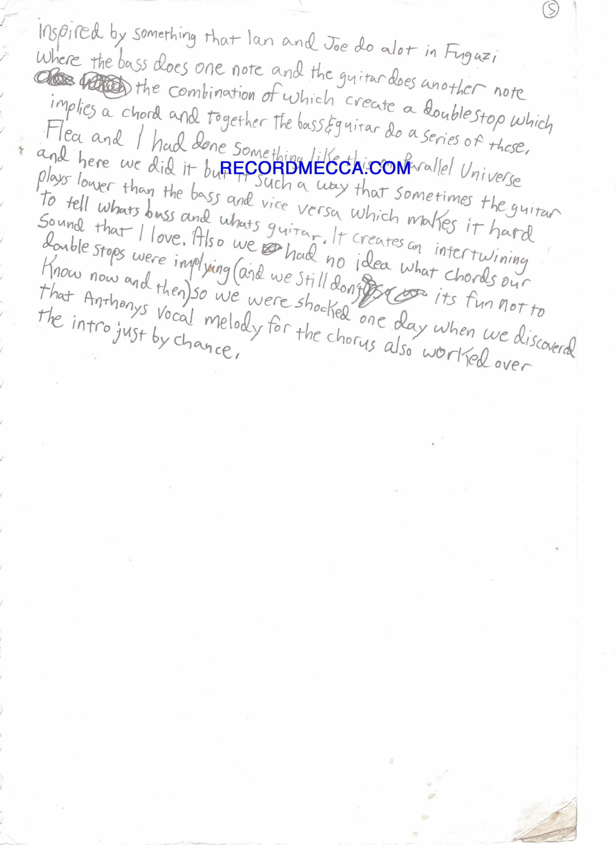 Red Hot Chili Peppers Extraordinary 5 Page Handwritten John